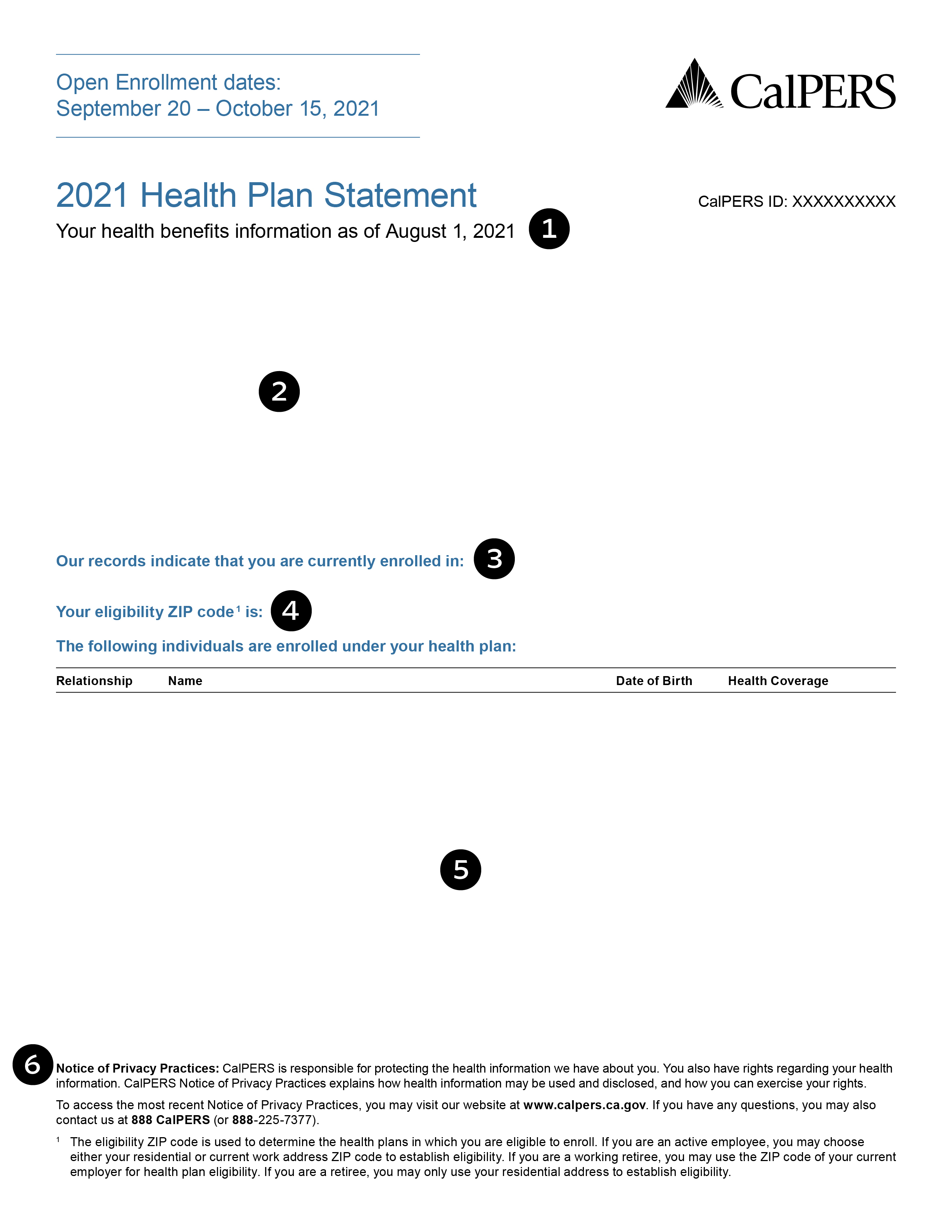 Health Plan Statement, Page 1