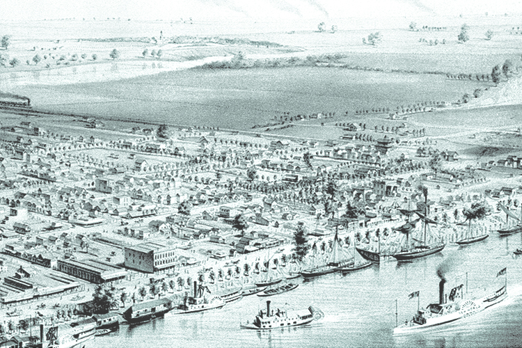 Historical drawing of the City of Sacramento, California. Steamboats are shown in the Sacramento River