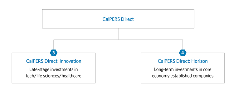 CalPERS Direct is composed of two parts: CalPERS Direct Innovation and CalPERS Direct Horizon. CalPERS Direct Innovation will invest in late stage investments in tech, life sciencesm and healthcare. CalPERS Direct Horizon will invest in long-term investments in core economy established companies.